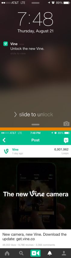 Vine >> push message on 8/21/14 >> This push message from Vine had simple but effective copywriting that was aware of its context—the lock screen. It opened the Vine app directly to a video promoting the new vine camera. Simple, straightforward, and effective. —Kristina Huffman, Design Practice Lead, Salesforce ExactTarget Marketing Cloud