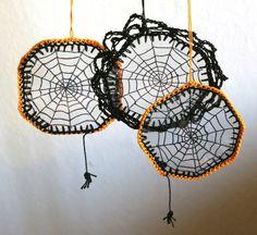 crocheted spider web   crochet / Halloween Decoration spider web dream catcher by ...