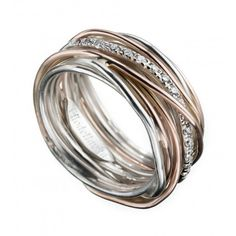Anello Filodellavita 13 fili in Oro rosa 9 kt, Argento 950 al Palladio e Diamanti Bianchi ct 0,21