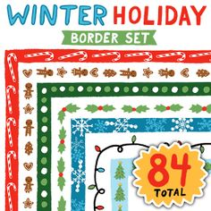Celebrate the season with festive hand-drawn borders. This set includes gingerbread, candy canes, snowflakes, Christmas trees, holly and more!