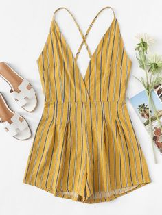 Criss Cross Back Striped Romper || ETTA ARLENE Romwe Style Faves