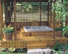 Planter around Hot Tub | Outdoor Hot Tub Ideas