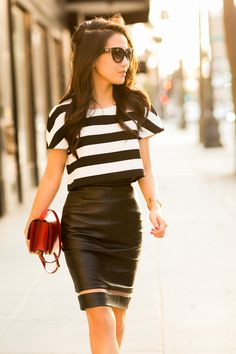 Cropped Story :: Flare Striped Top & Leather Fishline Skirt ( Striped Shirts & Blouses & Leather Skirts )
