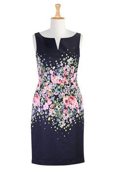 Floral Print Jacquard Dresses, Fall Floral Bloom Print Dresses Shop womens designer clothes - Shirtdresses - Shop for shirtdresses | eShakti.com