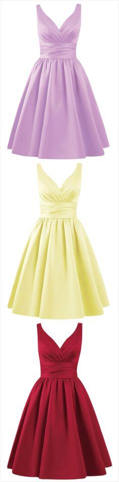 Women's Solid V Neck A-line Bridesmaid Dress