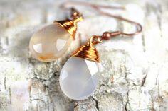 White Carnelian Earrings Wire Wrapped Pear by PhoenixFireDesigns, $28.00