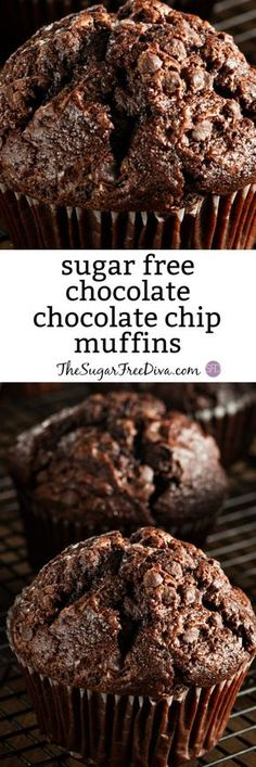 The Recipe for Tasty Sugar Free Chocolate Chocolate Chip Muffins - Zuckerfreie Kekse Sugar Free Chocolate Chips, Choco Chips, Chocolate Chip Muffins, Chocolate Chocolate, Sugar Free Chocolate Cupcake Recipe, Diabetic Chocolate, Healthy Chocolate Muffins, Sugar Free Fudge, Sugar Free Brownies