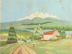 """VINTAGE SPINNERIN MOUNTAIN VILLAGE SCENE """"COUNTRY ROAD"""" CREWEL EMBROIDERY KIT"""