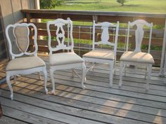 RESERVED... 4 French Cottage Mismatched Dining chairs with burlap by TheShabbyHome at Etsy. $250.00, via Etsy.