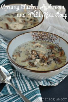Creamy Chicken Mushroom and Wild Rice Soup | www.wineandglue.com | An earthy and hearty soup perfect for fall and winter
