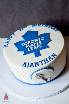 Toronto Maple Leafs Cake Love Cupcakes, Love Cake, Birthday Parties, Birthday Cake, 7th Birthday, Hockey Party, Esther Williams, Toronto Maple Leafs, Occasion Cakes