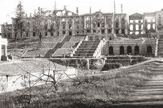 The hollowed remains of Peterhof Palace, after it was destroyed by the Germans during World War II, 1944