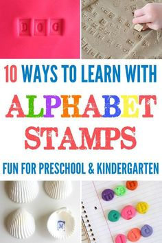 10 Ways to Learn with Alphabet Stamps. Great for preschool and kindergarten. Easy to adapt for sight word and spelling revision.