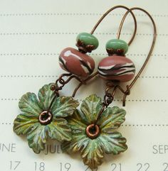 Flower Petal Earrings - Pink and Green.