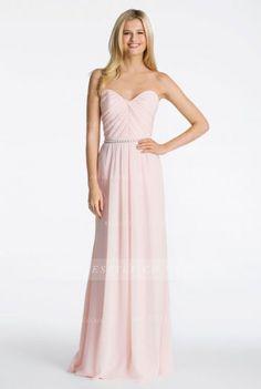 Hot Sale Blush Pleated Bodice Slim A-line Chiffon Bridesmaid Dress with Belt 980211fbc2c9