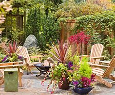 A firepit on a bluestone patio is perfect for intimate evenings: http://www.bhg.com/home-improvement/porch/outdoor-rooms/create-a-fall-garden-retreat/?socsrc=bhgpin100914colorwithcontainers&page=2