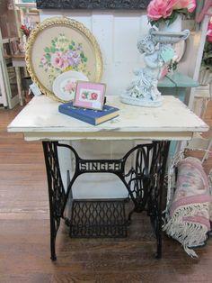 Shabby Chic Table Singer Sewing Machine Creamy by rosesnmygarden, $285.00