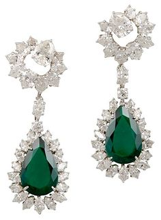 HARRY WINSTON Platinum Pear Shaped Emerald & Diamond Earrings, ca. 1970