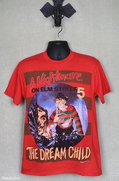 Nightmare on Elms Street 5 horror movie T-shirt, vintage rare red tee shirt, Freddy Krueger, origina Horror Movie T Shirts, Movie Shirts, Horror Movies, Tee Shirts, Pastel Goth Outfits, Freddy Krueger, Unisex Fashion, Street, Mens Tops