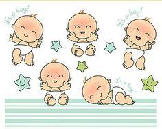 Bebé niño - Recién nacido - Clipart y Papel Digital - Set 027