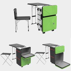 Transformers is a smart suitcase that carries portable furniture system. Often some people wonder how to travel with their furniture in an easy and simple way, Trunk Furniture, Outdoor Furniture Sets, Mobile Command Center, Rv Travel Trailers, Bar Interior, Home Gadgets, Cool Inventions, Home Office Design, Table Plans
