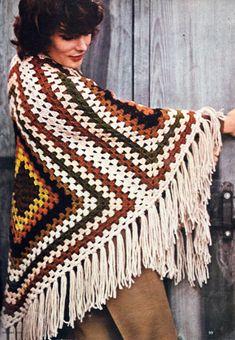 Vintage Crochet Poncho Pattern Shawl Afghan by GrandmaHadItGoinOn
