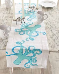 Octopus Linen Table Runner