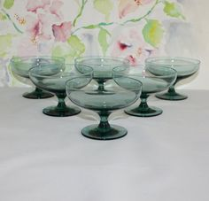 Beautiful Set of 6 Vintage Teal Green Low by cocoandcoffeevintage