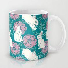 Bouncing White Rabbits Mug by Rosy Designs - $15.00