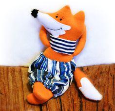 Fox Rag Doll Stuffed Fox Cloth Doll by Fairybugcreativetoys