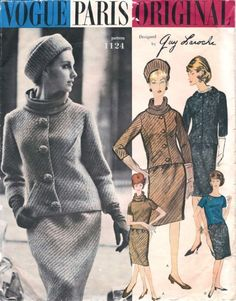 Guy Laroche (Vogue 1121). Buttons again, and fascinating diagonal pockets.