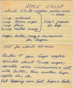- I love these hand written recipe cards! I love these hand written recipe cards! I love these hand written recipe cards! I love these hand written recipe cards! Retro Recipes, Old Recipes, Vintage Recipes, Fruit Recipes, Sweet Recipes, Cake Recipes, Cooking Recipes, Recipies, Dessert Recipes