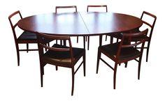 Arne Vodder Denmark for Sibast Mobler Mid Century Modern Extendable Dining Table Set on Chairish.com