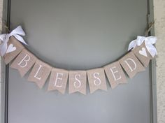 Christening Banner - Baptism Banner - Blessed Burlap Banner - Baby Christening Bunting - Rustic Chic Burlap Baptism Garland - Photo Prop
