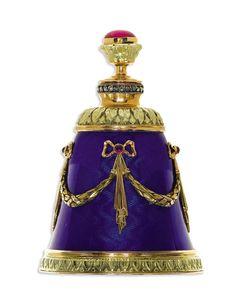 Red Stone, Diamond, Ruby, Enamel, Gold, Silver Perfume Bottle, Russian 1908-1917