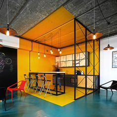 Office: Office Kitchen In Bright Yellow With Industrial Style - A World of Color and Creative Design: Modern Industrial Office in Armenia Industrial Office Design, Office Space Design, Industrial House, Industrial Interiors, Office Interior Design, Modern Industrial, Office Interiors, Office Spaces, Industrial Windows