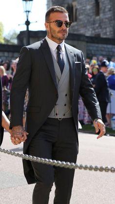 David Beckham Royal Wedding hottest man at wedding ! David Beckham Long Hair, David Beckham Family, David Beckham Suit, David Beckham Style, David Beckham Wedding, Beckham Football, Harper Beckham, Wedding Dress Men, Dream Wedding