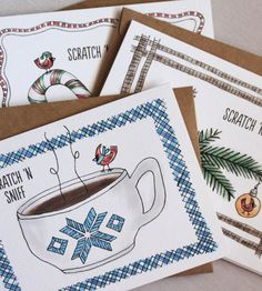 Variety Scratch 'n Sniff Holiday Cards - Pack of 12 by Three Little Words on Scoutmob Shoppe. Hot chocolate, peppermint and Christmas tree scented scratch n' sniff cards. So. Awesome.