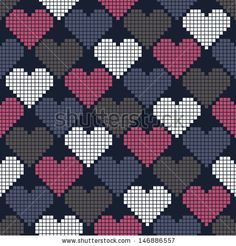 Seamless pattern with hearts of squares for textiles, interior design, for book design, website background.