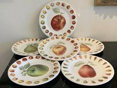 GIEN France Belle Helene Dessert Pie Plate Set of 6 #Gien Pie Plate, Pie Dessert, Plate Sets, Decorative Plates, Pottery, France, Tableware, Desserts, Home Decor