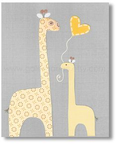 Baby boy nursery kids Room, Baby decor nursery, kids art, kids room decor, boy room, kids Giraffe, I Love You Mommy 8x10 print from Paris. $14.00, via Etsy.