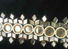 Mirror work Embroidery Works, Embroidery Motifs, Types Of Embroidery, Indian Embroidery, Hand Embroidery Designs, Afghan Dresses, Work Sarees, Motif Design, Mirror Work