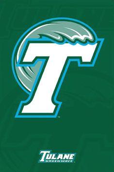 Tulane University Green Wave Football Team Logo Sports Poster