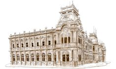 The Central Post Office, or Correos de Costa Rica is San Jose's most stunning building. It was constructed in 1917 and houses the national philatelic museum. I sketched the building with Copic markers and Micron liner pens.