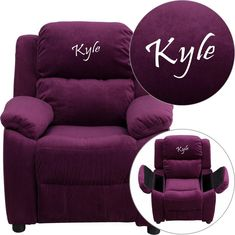 Flash Furniture BT-7985-KID-MIC-PUR-EMB-GG Personalized Deluxe Heavily Padded Purple Microfiber Kids Recliner with Storage Arms