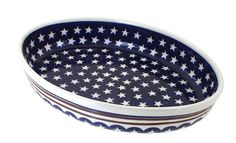 Polish Pottery Stars and Stripes Medium Oval Baker *** Remarkable discounts available  : Bakeware