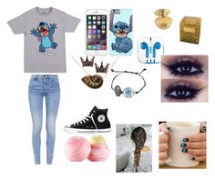 """""""Stitch"""" by olivia-huffer on Polyvore featuring Disney, Disney Couture, PhunkeeTree, G-Star, Converse and Eos"""