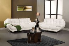 LOVE SEAT SM6083-LV ESPRESSO COLLECTION This set has unique features, such as the seat cushions tucked under the rolled arms, curved chrome legs, and double-stitching on top.  Loveseat Sale for $781