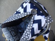 Carseat Canopy Navy Chevron would be even cuter if the grey and white polka dots were hot pink and white. Or even yelloe