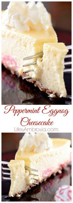 Creamy, dreamy eggnog cheesecake with a layer of Hershey's Candy Cane Kisses.